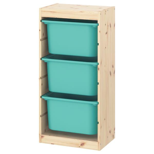TROFAST Comb arrumação c/caixas, pinho c/velatura br cl/turquesa, 44x30x91 cm