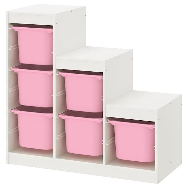 TROFAST Combinação de arrumação, branco/rosa, 99x44x94 cm