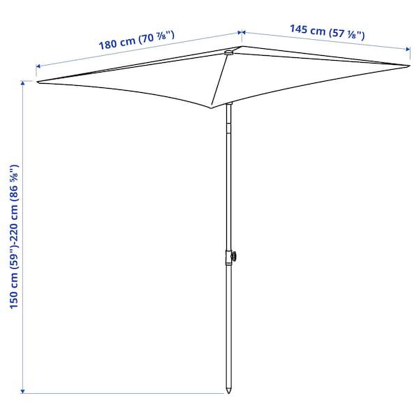 TVETÖ Guarda-sol, inclinável/bege acinzentado branco, 180x145 cm