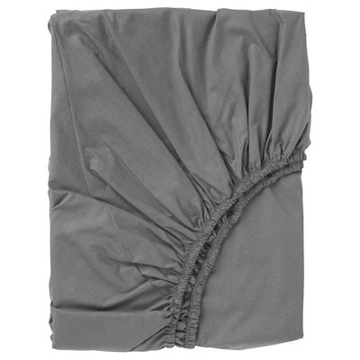 ULLVIDE Lençol de baixo ajustável, cinz, 140x200 cm