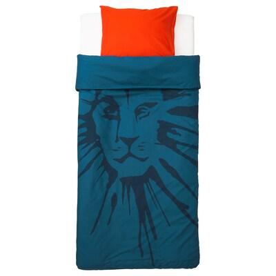 URSKOG Capa de edredão e fronha, leão/azul escuro, 150x200/50x60 cm