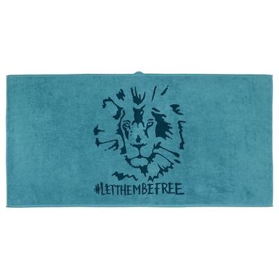 URSKOG Toalha de banho, leão/azul, 70x140 cm