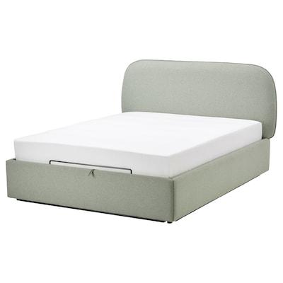 VADHEIM Estrut cama acolchoada c/arrumação, Gunnared verde claro, 160x200 cm