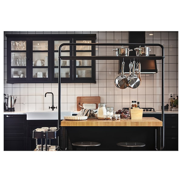 VADHOLMA Ilha de cozinha, preto/carvalho, 126x79x90 cm