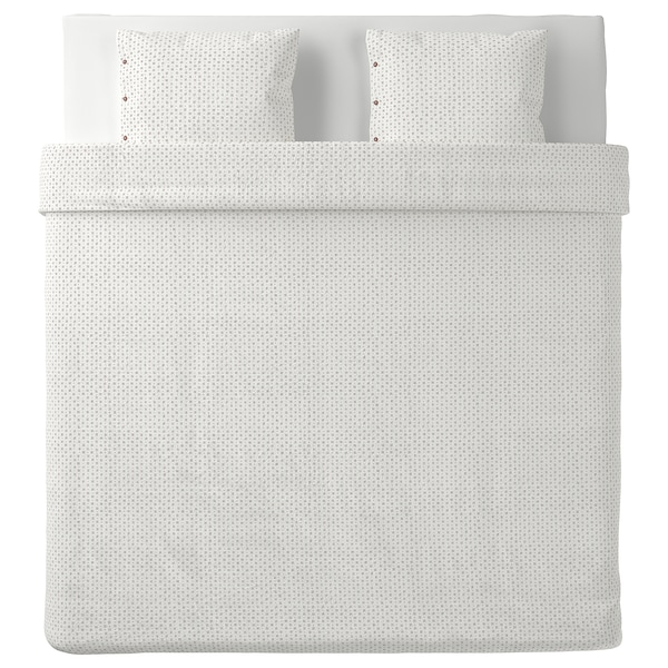VÄGTÅG Capa de edredão e 2 fronhas, branco/castanho escuro, 240x220/50x60 cm