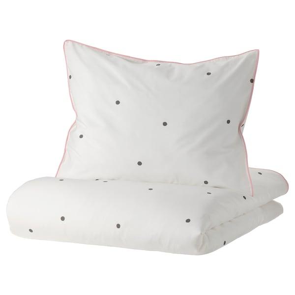 VÄNKRETS Capa de edredão+fronha, às bolas branco/rosa, 150x200/50x60 cm
