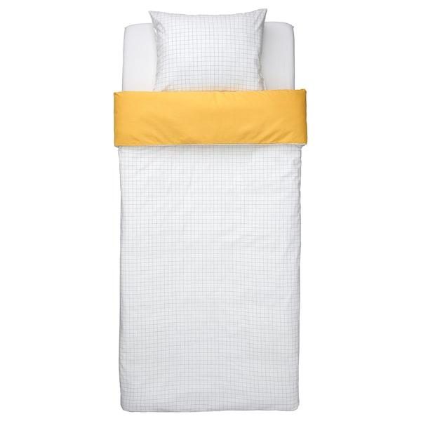 VÄNKRETS Capa de edredão+fronha, padrão xadrez branco/amarelo, 150x200/50x60 cm