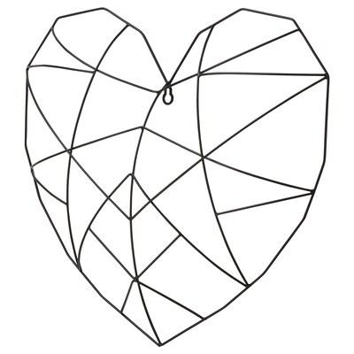 VÄTTLÖSA Decoração de parede, coração preto, 44x40 cm