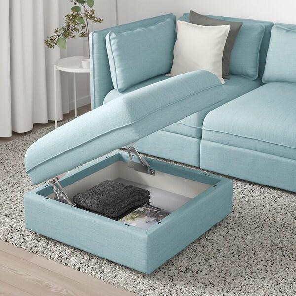 VALLENTUNA módulo de assento c/arrumação Hillared azul claro 80 cm 80 cm 45 cm
