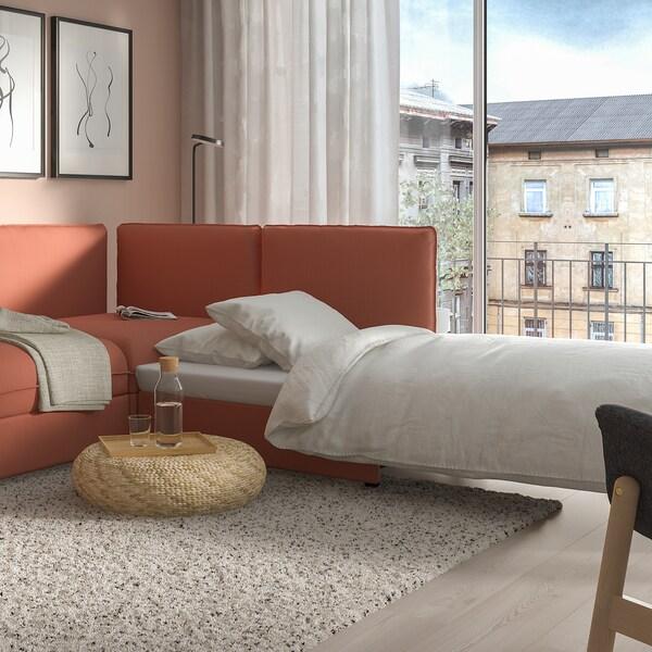 VALLENTUNA Sofá-cama cto mod 3lug+sofá-cama, e arrumação/Kelinge cor de ferrugem