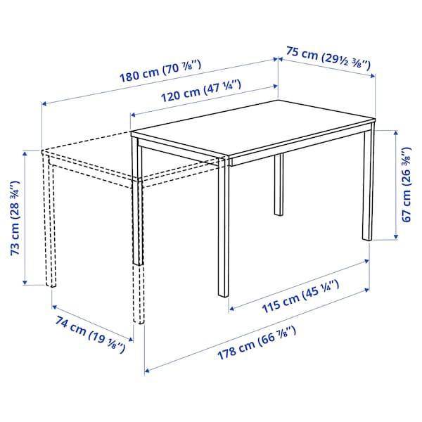 VANGSTA Mesa extensível, branco, 120/180x75 cm