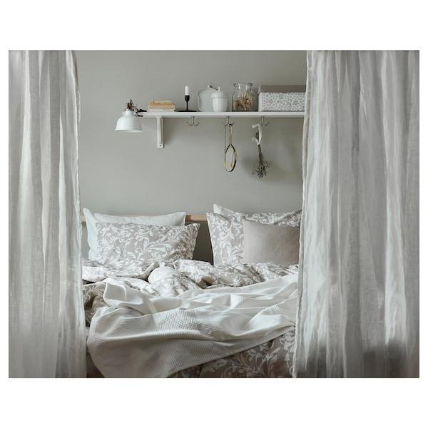 VÅRBRÄCKA Capa de edredão+2 fronhas, bege/branco, 240x220/50x60 cm