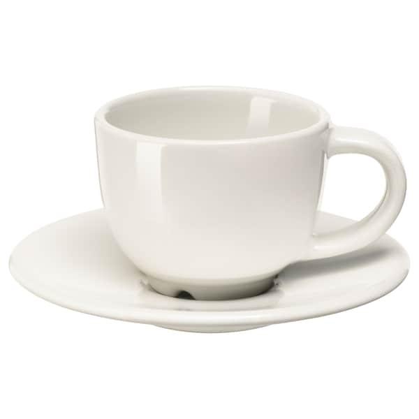 VARDAGEN Chávena de café e pires, branco-bege, 6 cl