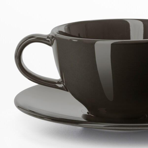 VARDAGEN Chávena e pires, cinz esc, 26 cl