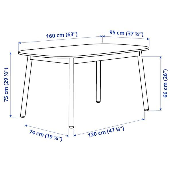 VEDBO Mesa de refeição, branco, 160x95 cm
