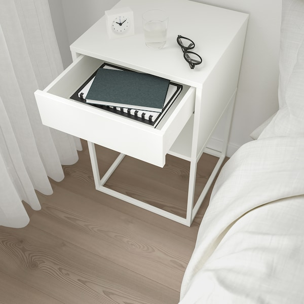 VIKHAMMER Mesa de cabeceira, branco, 40x39 cm