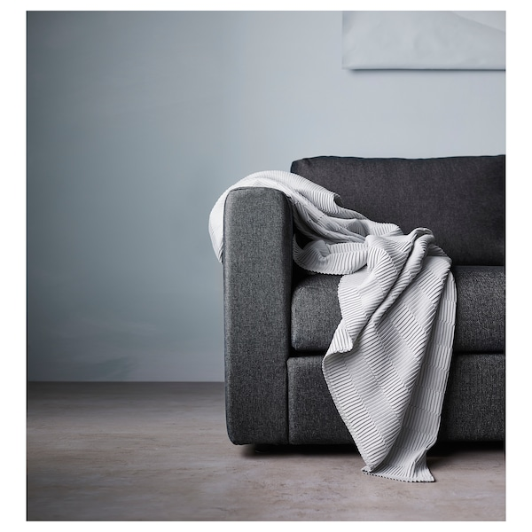 VIMLE Sofá-cama 3 lugares, c/chaise longue/Tallmyra preto/cinzento