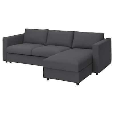 VIMLE Sofá-cama 3lg c/chaise longue, Hallarp cinz