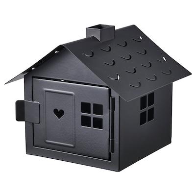 VINDLÖS Porta-velas, casa/preto, 14 cm