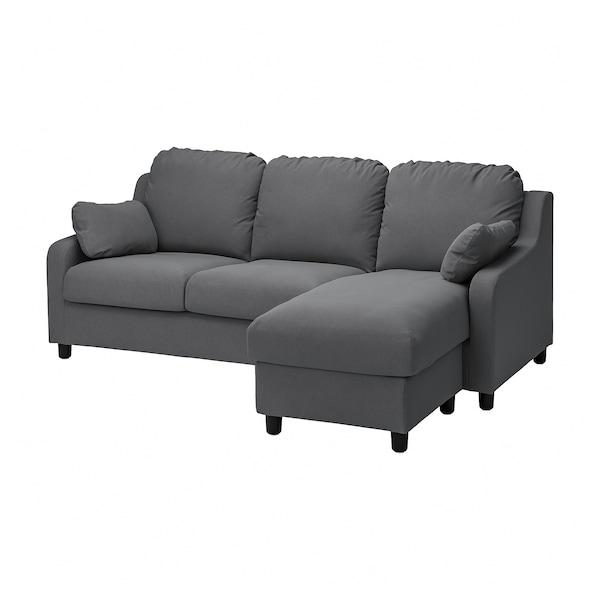 VINLIDEN Capa p/sofá 3 lugares, c/chaise longue/Hakebo cinz esc