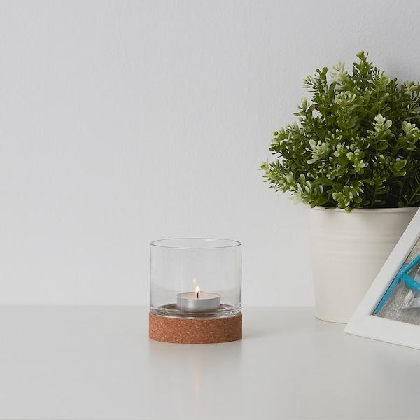 VINTERVÄDER Porta-velas, vidro/cortiça, 8 cm
