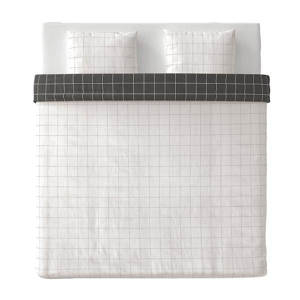 VITKLÖVER Capa de edredão+2 fronhas, branco preto/xadrez, 240x220/50x60 cm