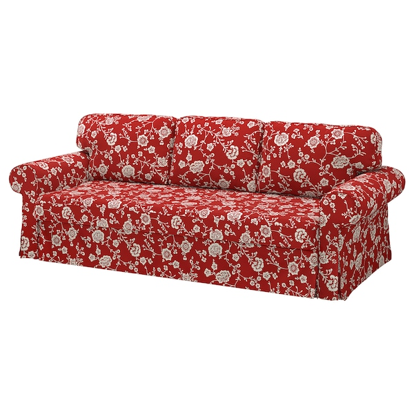 VRETSTORP Capa p/sofá-cama 3 lugares, Virestad verm/branco