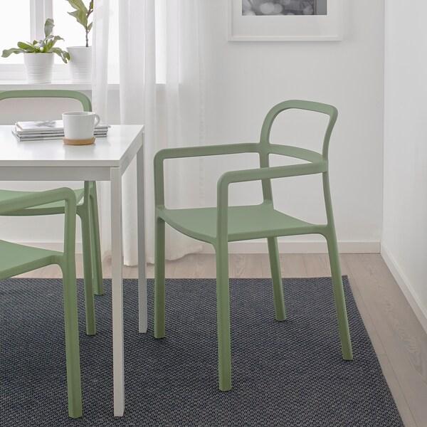 YPPERLIG Cadeira c/braços, interior/exterior, verde