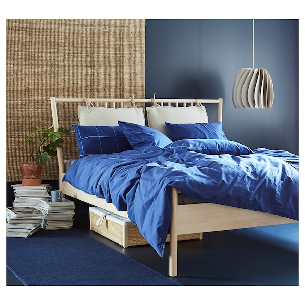 ÄNGSLILJA quilt cover and 2 pillowcases dark blue 125 /inch² 2 pack 220 cm 240 cm 50 cm 80 cm