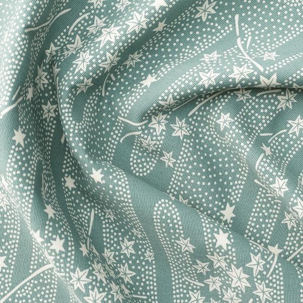 ÄNGSMOTT Fabric, grey-turquoise/white, 150 cm