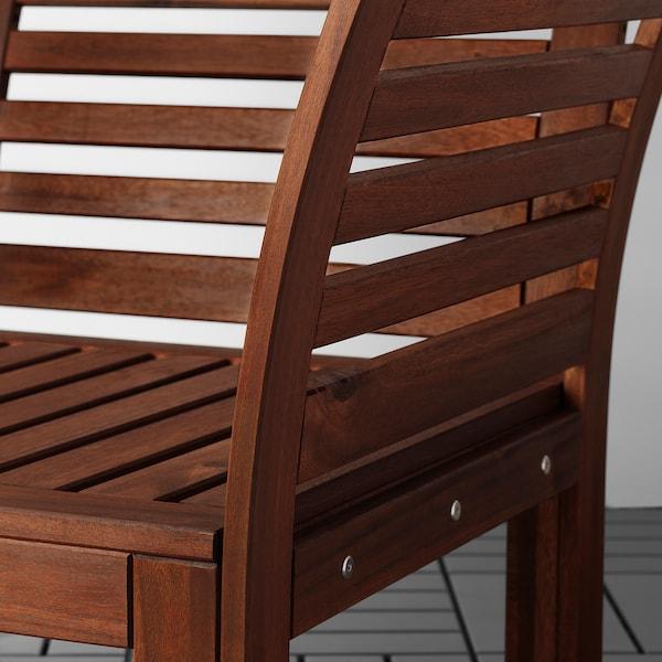 ÄPPLARÖ 3-seat modular sofa, outdoor, with footstool brown stained/Frösön/Duvholmen dark grey, 143/223x80x84 cm
