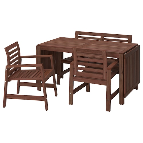 ÄPPLARÖ table+2 chrsw armr+ bench, outdoor brown stained