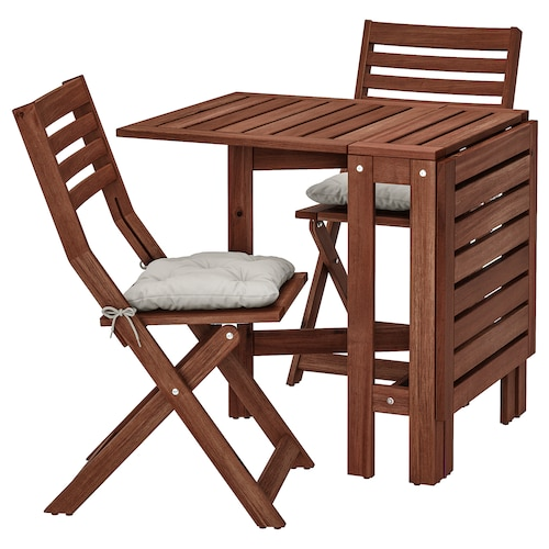 ÄPPLARÖ table+2 folding chairs, outdoor brown stained/Kuddarna grey