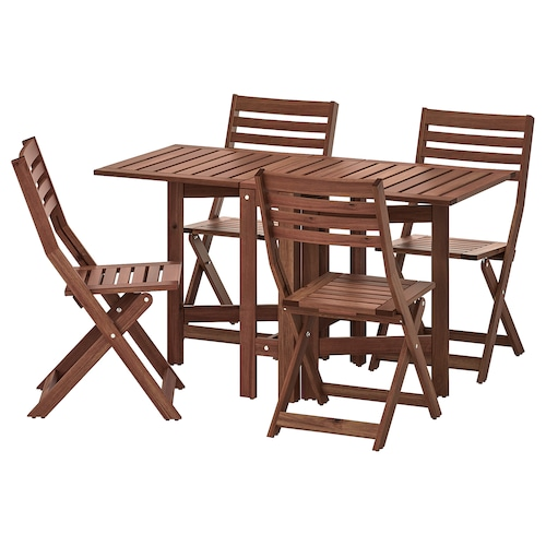 ÄPPLARÖ table+4 folding chairs, outdoor brown stained