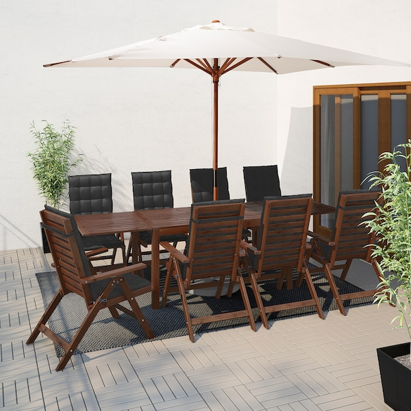 ÄPPLARÖ table+8 reclining chairs, outdoor brown stained