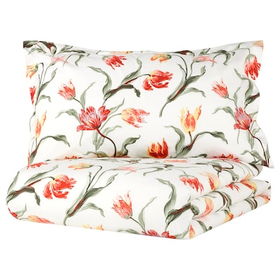 ÅLANDSROT Duvet cover and 2 pillowcases, off-white/floral patterned, 240x220/50x80 cm