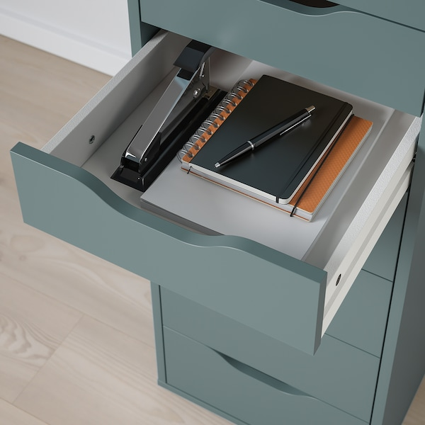 ALEX Drawer unit with 9 drawers, grey-turquoise, 36x116 cm