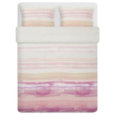 ALPDRABA Duvet cover and 2 pillowcases, pink/stripe, 240x220/50x80 cm