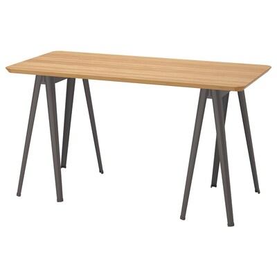 ANFALLARE / NÄRSPEL Desk, bamboo/dark grey, 140x65 cm