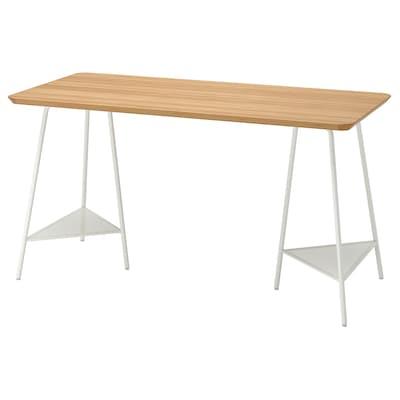 ANFALLARE / TILLSLAG Desk, bamboo/white, 140x65 cm