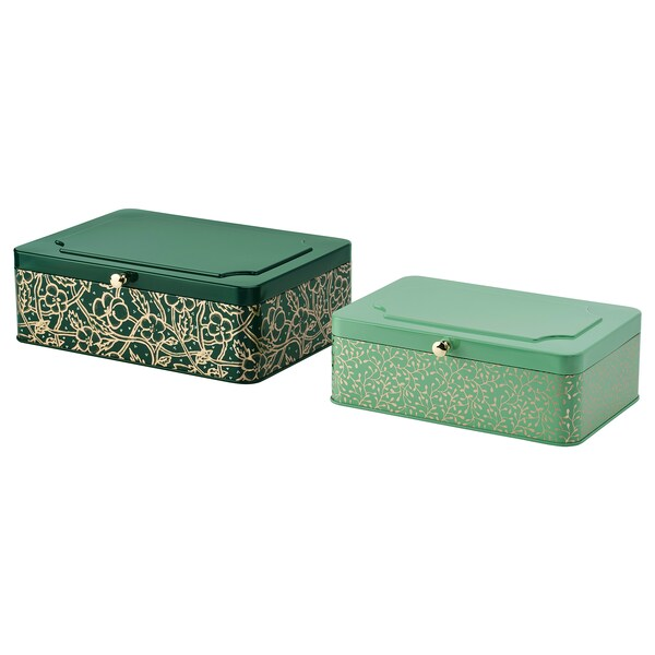 ANILINARE decoration box, set of 2 green gold-colour/metal