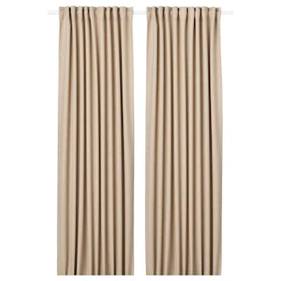 ANNAKAJSA Room darkening curtains, 1 pair, beige, 145x300 cm