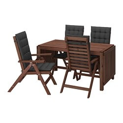 ÄPPLARÖ table+4 reclining chairs, outdoor, brown stained, Hållö black
