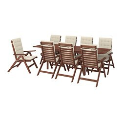 ÄPPLARÖ table+8 reclining chairs, outdoor, brown stained, Hållö beige