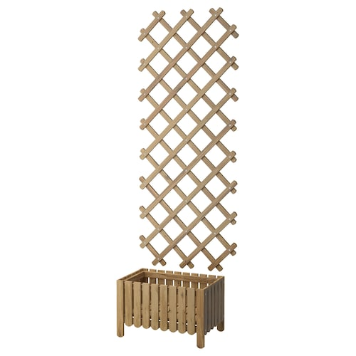 ASKHOLMEN flower box w trellis, outdoor grey-brown stained
