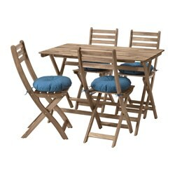 ASKHOLMEN table+4 chairs, outdoor, grey-brown stained grey/brown, Ytterön blue