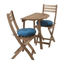 ASKHOLMEN table f wall+2 fold chairs, outdoor, grey-brown stained grey/brown, Ytterön blue