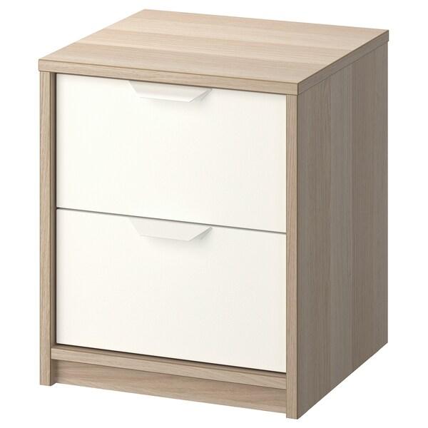 ASKVOLL chest of 2 drawers white stained oak effect/white 41 cm 41 cm 48 cm 32 cm 33 cm 4 kg