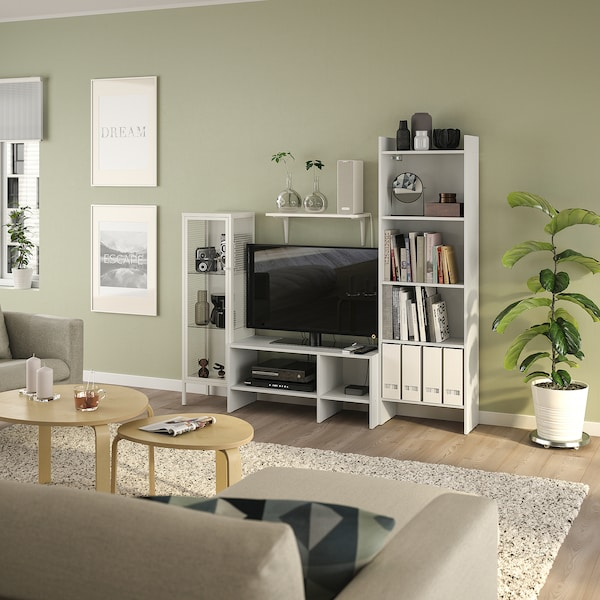 BAGGEBO TV storage combination, white metal, 174x35x160 cm