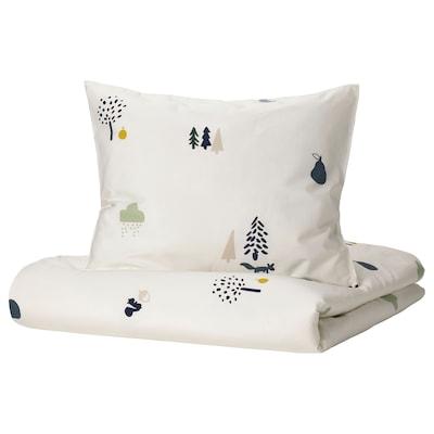 BARNDRÖM غطاء لحاف و غطاء مخدة, نقش حيوان الغابة/عدة ألوان, 150x200/50x80 سم